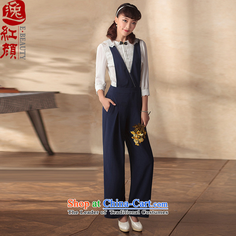 A Pinwheel Without Wind the world autumn Yat) strap trousers 2015 new Wild ethnic vogue STRAP WIDTH-legged pants color navy pre-sale 3 days?M