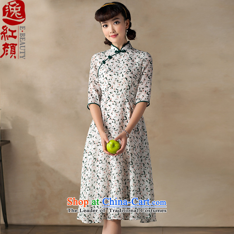 A Pinwheel Without Wind recalled that long-sleeved Chi Yat Chu, dresses 2015 New Stylish retro national wind long skirt Doi green?S