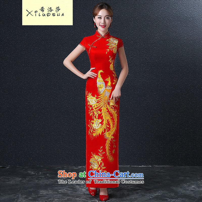Hillo Lisa _XILUOSHA_ Marriage qipao retro Phoenix Chinese embroidery long bride services bows dress red Door Services 2015 New Red燤