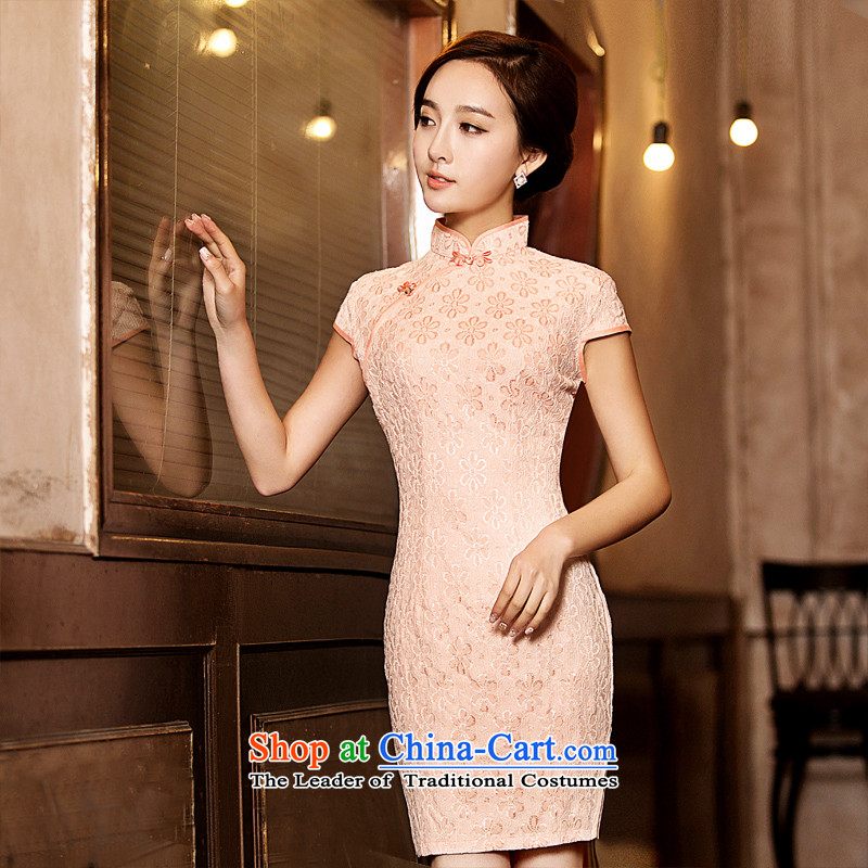 Time Syrian?2015 skirt new autumn cheongsam with lace pink Sau San cheongsam dress retro elegant qipao gown banquet improved apricot?XXL