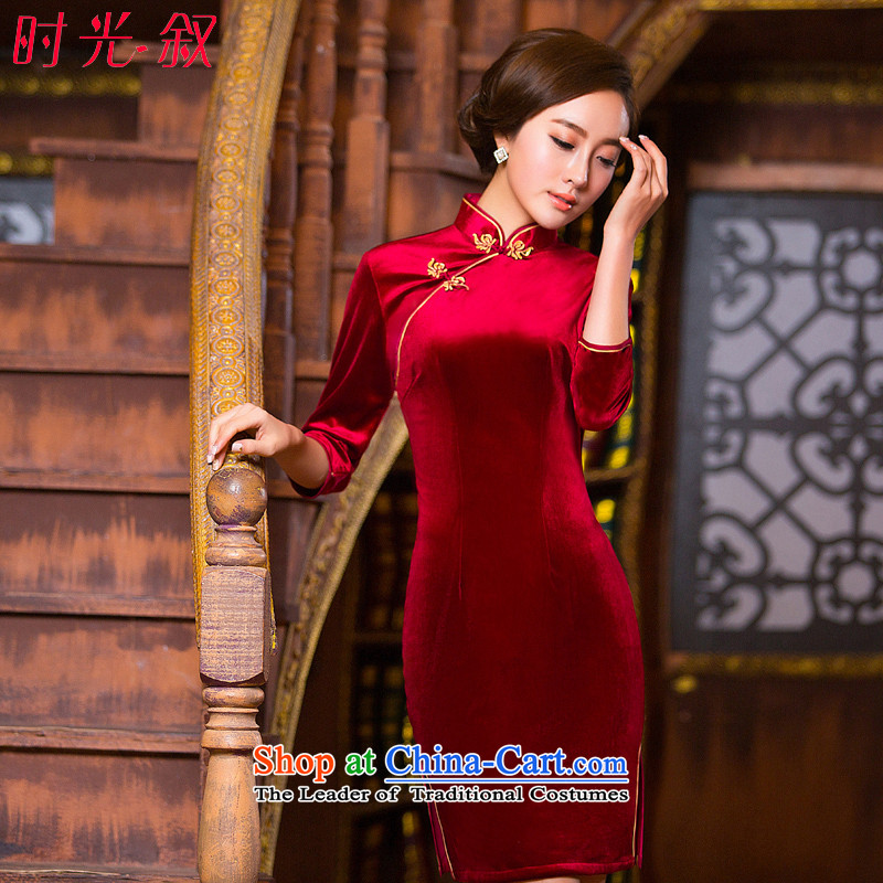 The Syrian Arab Republic�15 autumn and winter time qipao 7 cuff improved qipao Stretch Wool forming the skirt Chinese gold and red short cheongsam dress mother red燲L
