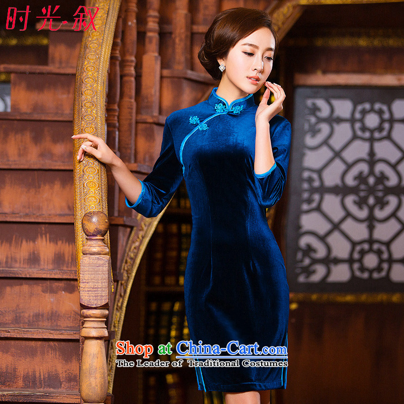 The Syrian Arab Republic 2015 autumn and winter time qipao 7 cuff improved qipao Stretch Wool forming the skirt Chinese Gold and Blue short skirt qipao your mother blue XXL