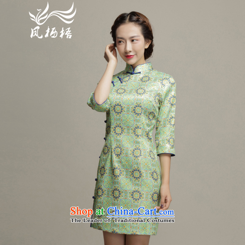 Bong-migratory 7475?Autumn 2015 new dresses in the retro cheongsam dress daily cuff stylish qipao DQ15181 Sau San Green?M