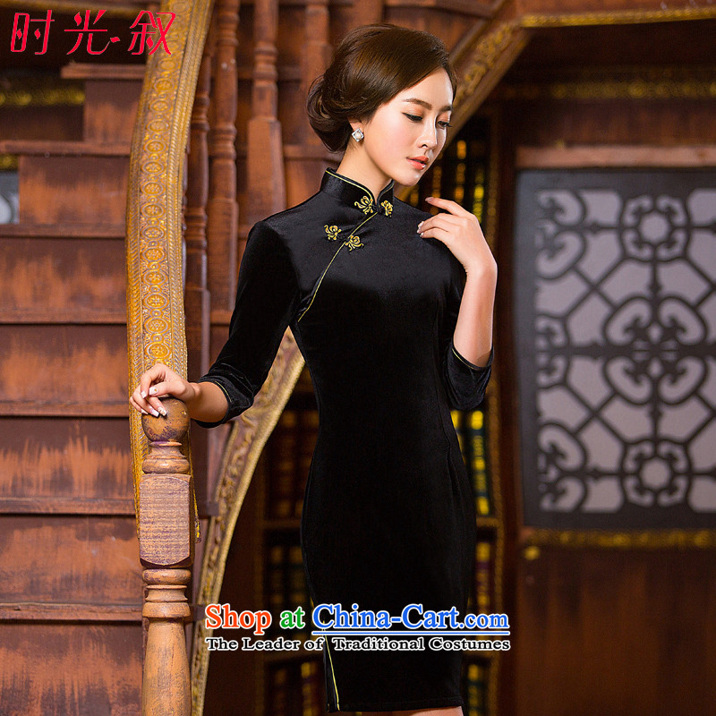 The Syrian Arab Republic?2015 autumn and winter time qipao 7 cuff improved qipao Stretch Wool forming the skirt Chinese gold and black short cheongsam dress your MOM Pack Black?M
