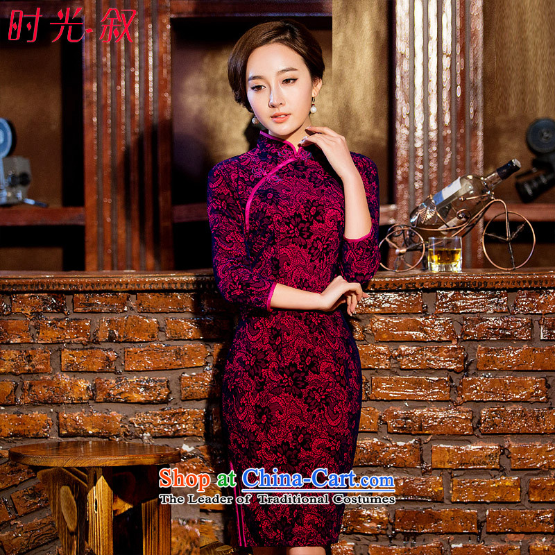 The Syrian Arab Republic? 2015 Autumn load time new cheongsam retro improved stylish lace cheongsam dress daily short of Sau San dresses, Ms. Rose red?M
