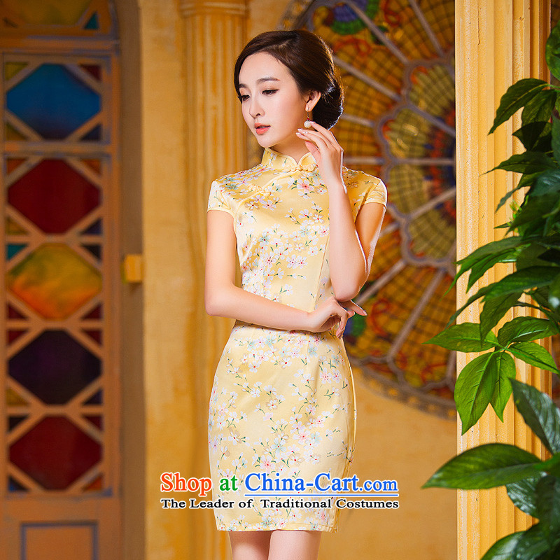 Time improved new qipao Syrian fall short of 2015 cheongsam dress retro daily cheongsam dress Ms. Tang dynasty pale yellow cheongsam light yellow?M