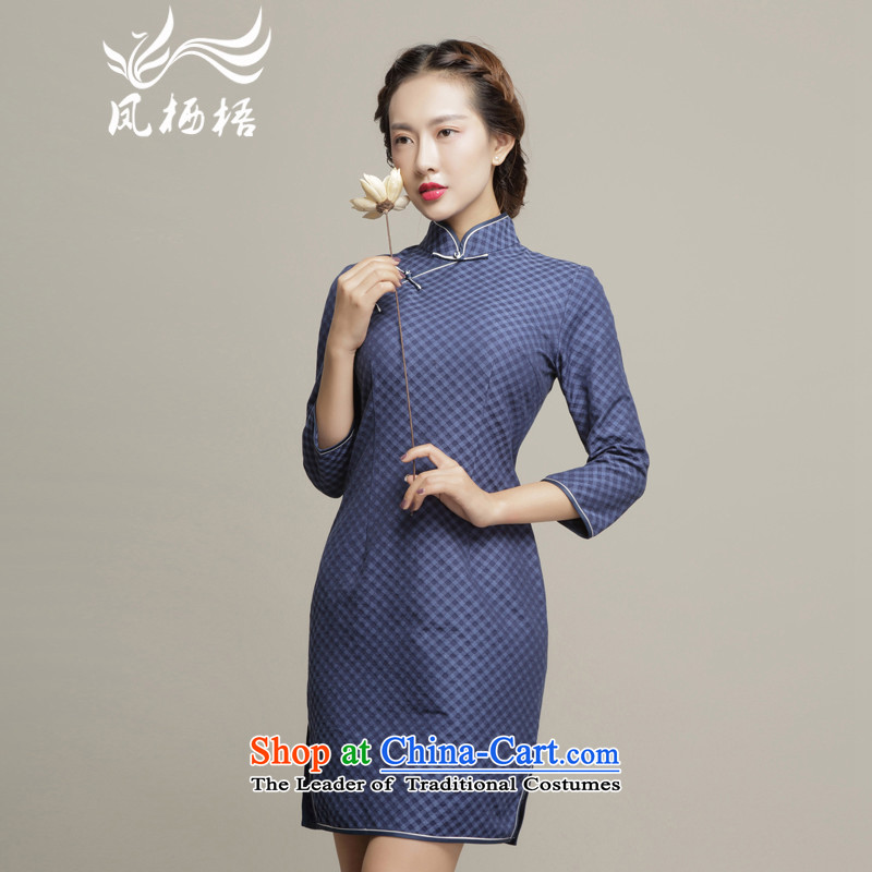 Bong-migratory 7475燗utumn 2015 new dresses in the retro cheongsam dress daily cuff Sau San stylish DQ15182 qipao dark blue燲XL