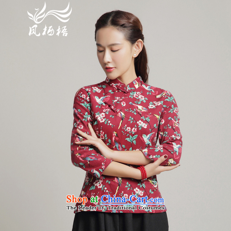 Bong-migratory 7475?2015 Autumn qipao long-sleeved blouses cotton linen TANG Sau San stylish shirt qipao daily DQ15183 RED?L