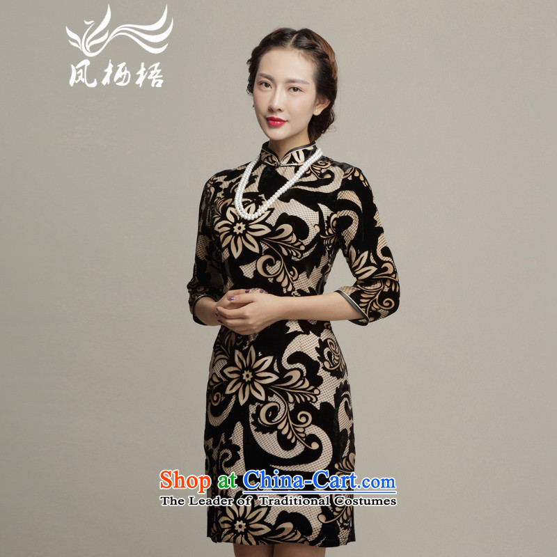 Bong-migratory 7475 Autumn 2015 new cheongsam qipao daily Sau San stylish Wool Velvet cheongsam dress suit in cuff DQ15184 M