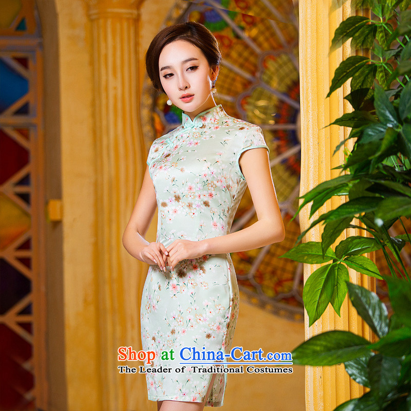 Time improved new qipao Syrian fall short of 2015 cheongsam dress retro daily cheongsam dress Ms. Tang dynasty qipao light green light green XL
