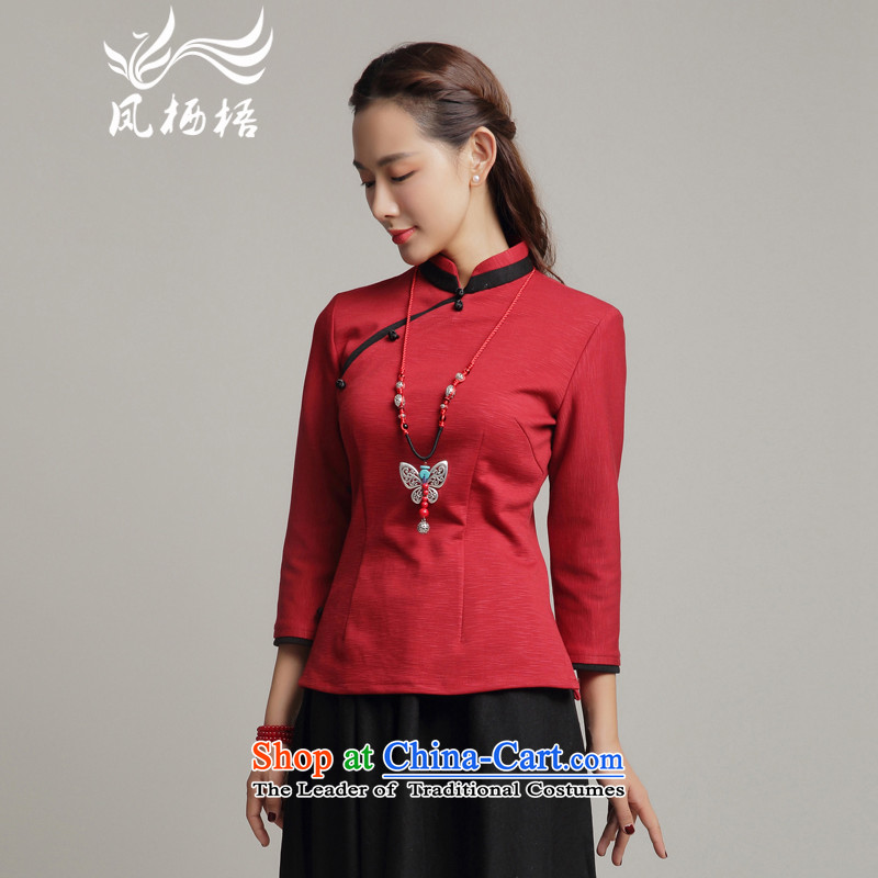 Bong-migratory 7475�Autumn 2015 new cheongsam long-sleeved blouses Tang retro cotton shirt qipao DQ15185 Sau San RED�M
