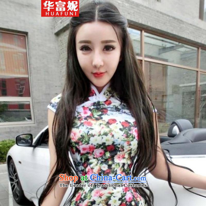 Wah Fu Ni design style chalets flower Chinese summer short cheongsam dress retro dresses picture Suit?M