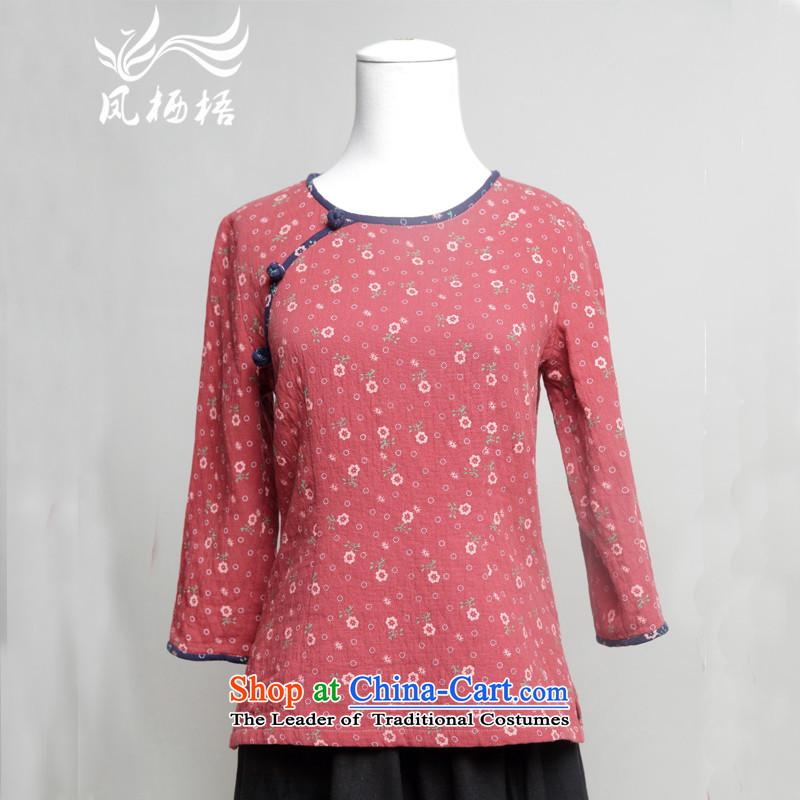 Bong-migratory 7475燗utumn 2015 long-sleeved cotton qipao Tang Blouses Chinese national saika qipao DQ15187 shirt red燲L