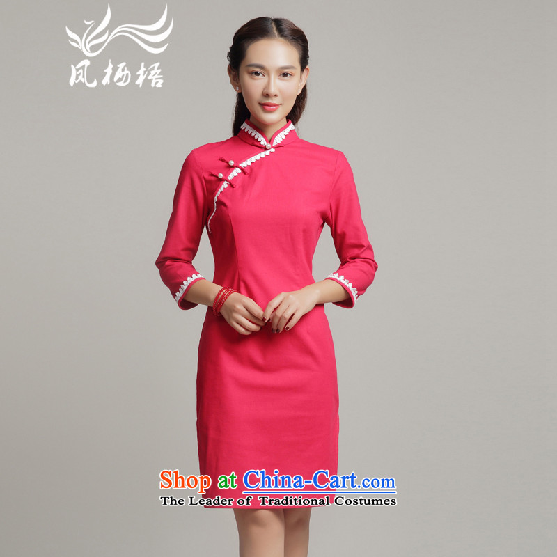 Bong-migratory 7475 Autumn 2015 new qipao cotton linen cheongsam dress daily fashion, long lace qipao DQ15188 RED燲XL