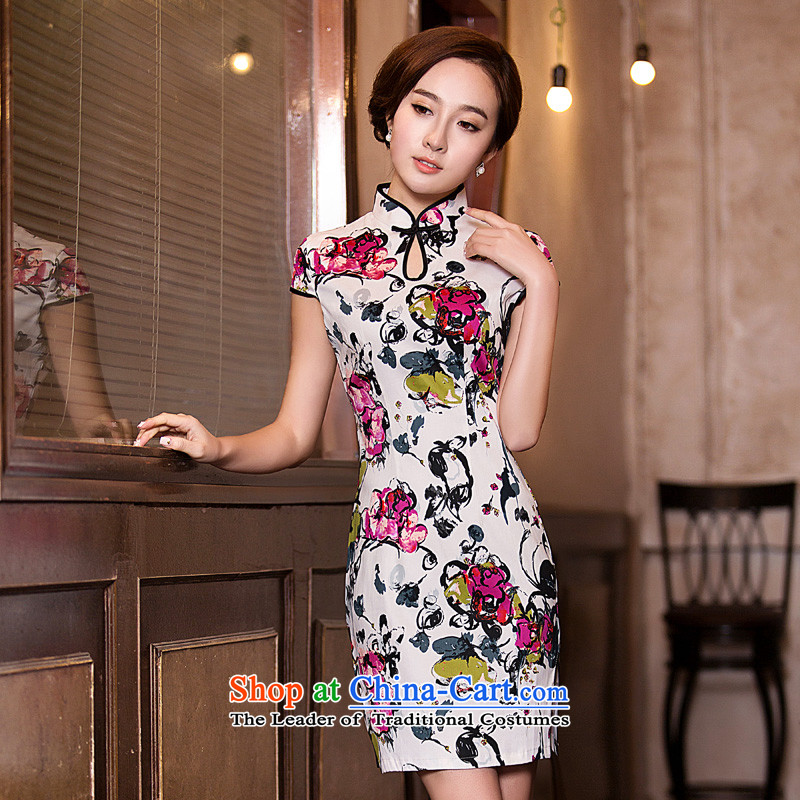 Time the? new 2015 Syria retro style improved graphics thin Sau San short of qipao dresses cheongsam dress autumn day-to-replace larger picture color?XL