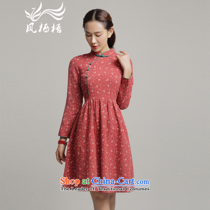 Bong-migratory 7475 Autumn 2015 new cheongsam long-sleeved small fresh dresses and stylish cotton linen cheongsam dress DQ15189 RED M