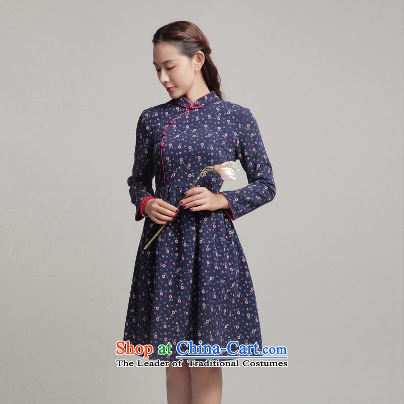 59dd9e29ab1 Bong-migratory 7475Â Autumn 2015 new cheongsam long-sleeved small fresh  dresses and stylish cotton linen cheongsam dress DQ15189 REDÂ M