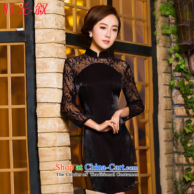 Time Syrian scouring pads qipao skirt 2015 new long-sleeved bows services-semi-high collar seven long-sleeved lace MOM pack dresses Female dress black?L