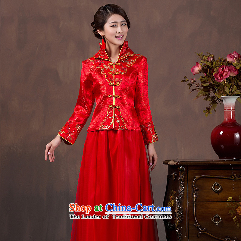 Non-you do not marry?2015 autumn and winter new wedding dress ornate damask cheongsam red retro bows Services snap-collar double dress improvement of 9 Cuff married?XL