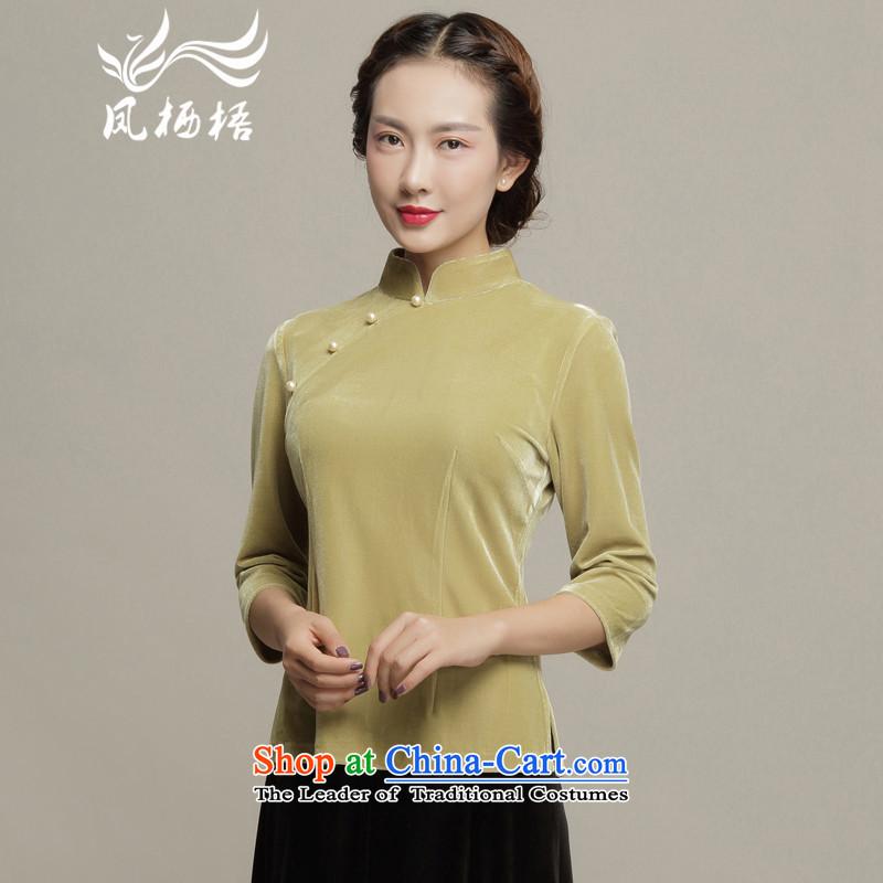Bong-dwelling in the autumn of 7475 qipao 2015 cuff scouring pads Tang blouses retro qipao shirt DQ15192 Sau San velvet khaki?XXL