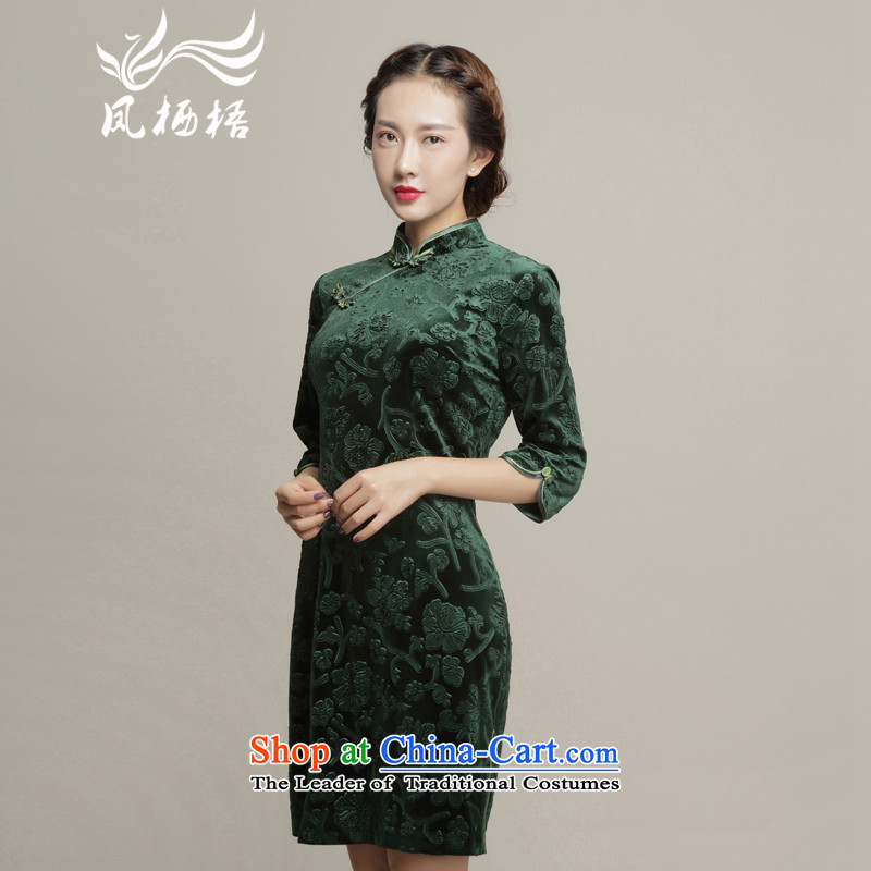 Bong-migratory 7475 Autumn 2015 new cheongsam qipao Stylish retro scouring pads cheongsam dress DQ15193 Sau San velvet green?L