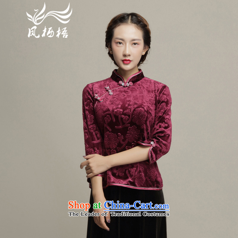 Bong-migratory 7475 Autumn 2015 new cheongsam qipao shirt retro scouring pads cheongsam dress DQ15194 Sau San velvet wine red?XL