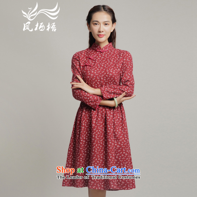 Bong-migratory 7475 2015 autumn and winter improved stylish and elegant reminiscent of the national dress small saika qipao skirt?DQ15195?RED?L