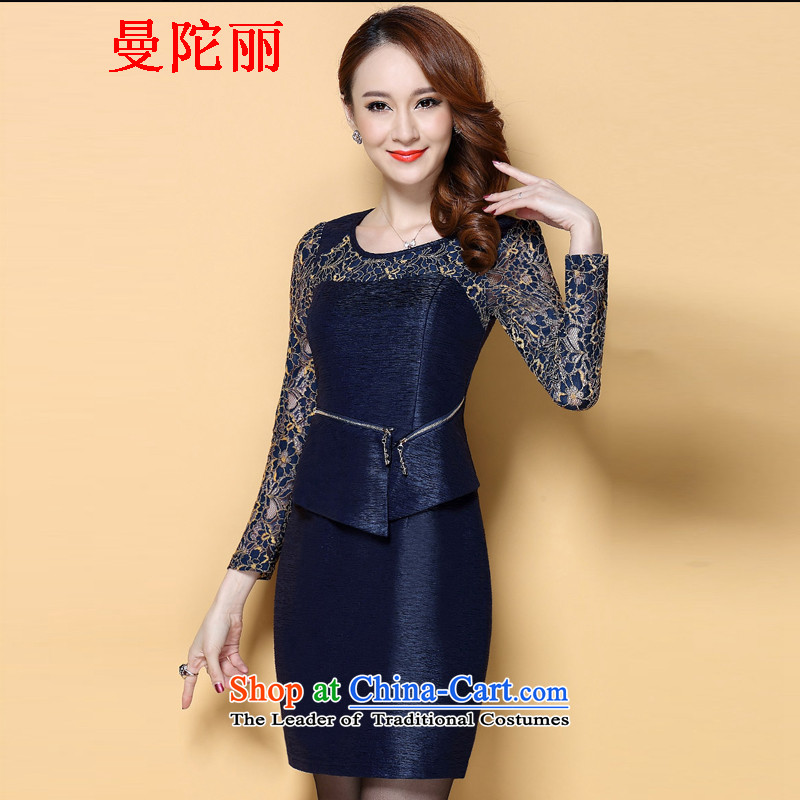 Cayman and Lai Tang Gown cheongsam dress temperament lace engraving step skirt new_ Autumn 2015 commuter OL Sau San dresses navy XL
