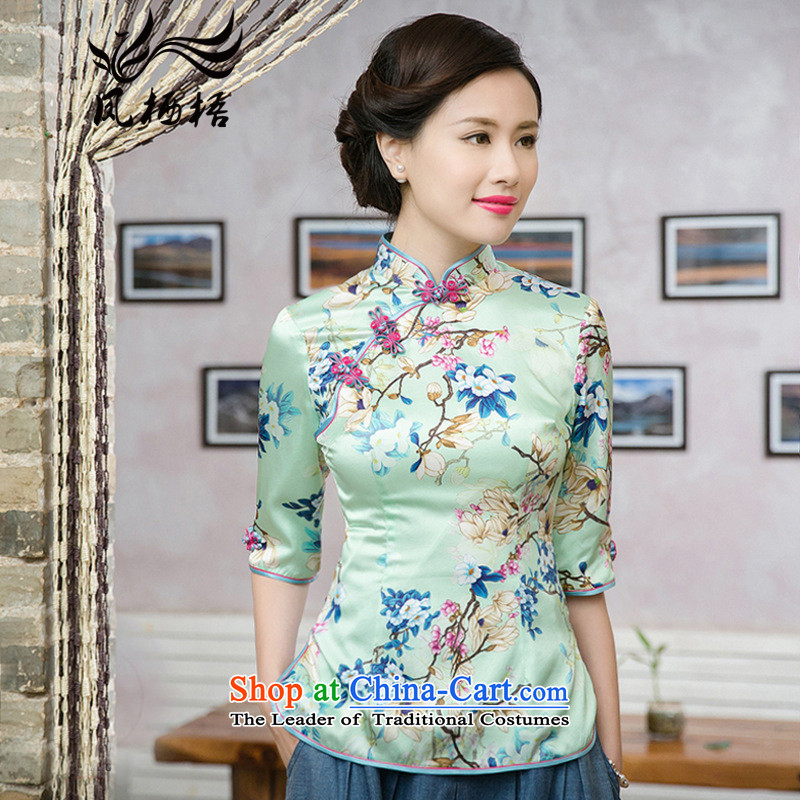 7475 2015 Autumn Fung migratory New Silk Cheongsam blouse retro Stylish retro silk Tang blouses DQ15197 SUIT燲L