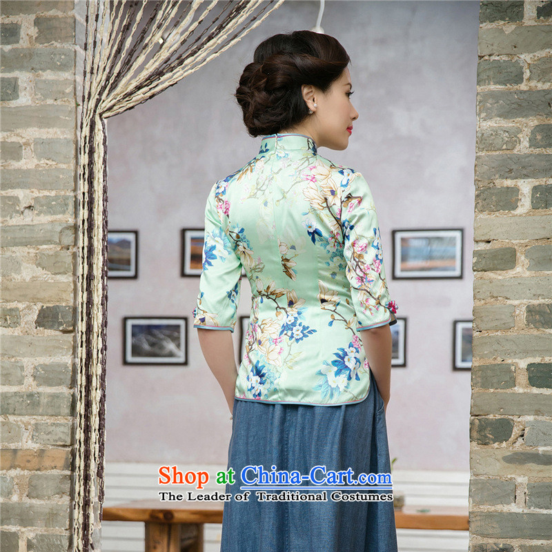 7475 2015 Autumn Fung migratory New Silk Cheongsam blouse retro Stylish retro silk Tang blouses DQ15197 SUIT XL, Bong-migratory 7475 , , , shopping on the Internet