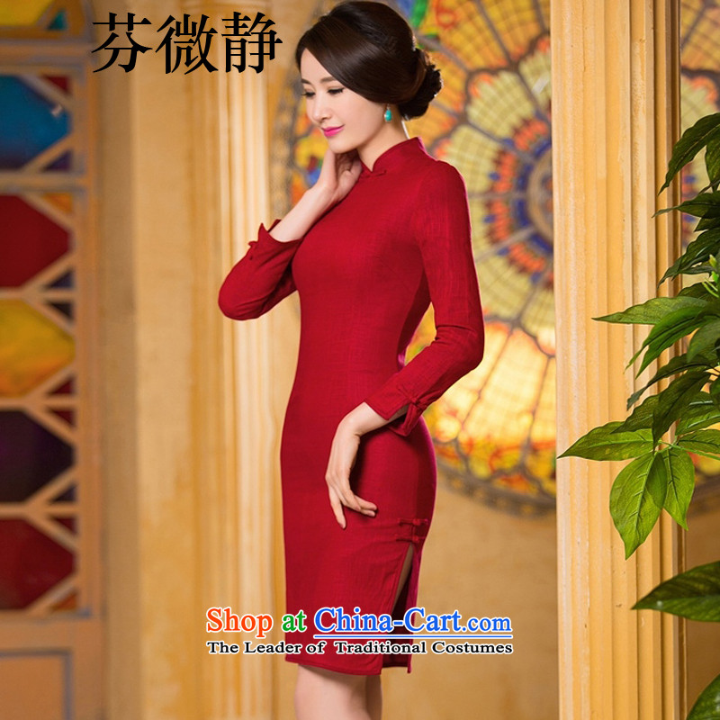 Leung Ching?2015 Autumn, micro-cheongsam dress retro long double linen cotton linen dresses and stylish improved cheongsam dress within the red with small _a_ Code XXL