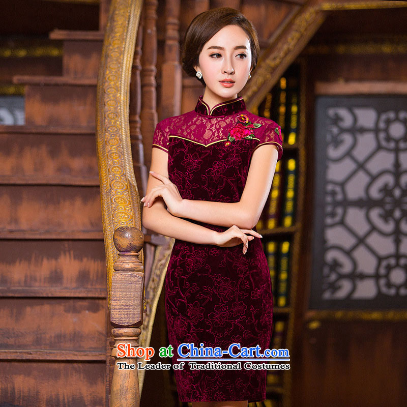 The five senses the new 2015 figure Kim velvet lace cheongsam dress daily Stylish retro qipao short of improvement and sexy package and red qipao S