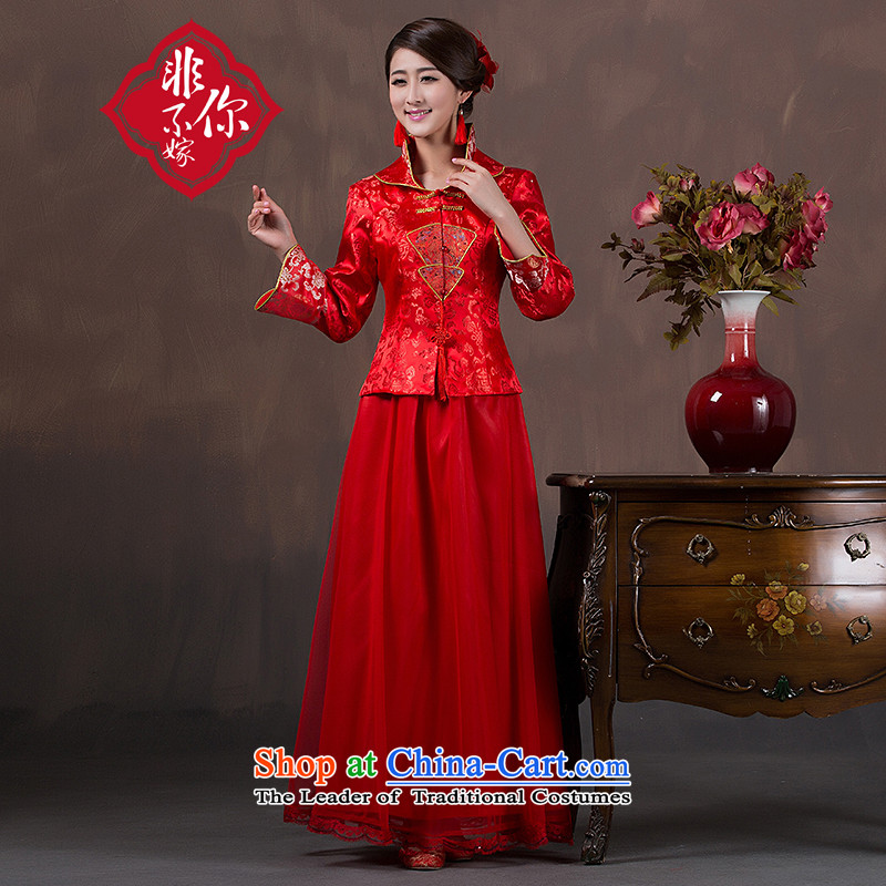 Non-you do not marry�2015 autumn and winter new wedding dress upscale damask cheongsam dress red Chinese Antique Lace bows to larger Sau San wedding gown of 9 cuff long skirt thick)�XL