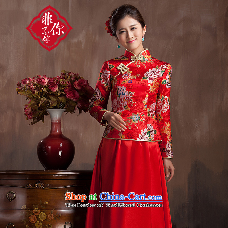 Non-you do not marry 2015 new red wedding dress peony flowers embroidered coin qipao 7 Cuff Yun Jin long skirt back door onto the wedding dress bows services plus long-sleeved winter cotton M