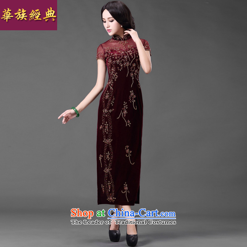 China Ethnic classic wedding banquet scouring pads nail pearl mother cheongsam dress Ms. summer improved retro dresses chestnut horses聽XXL