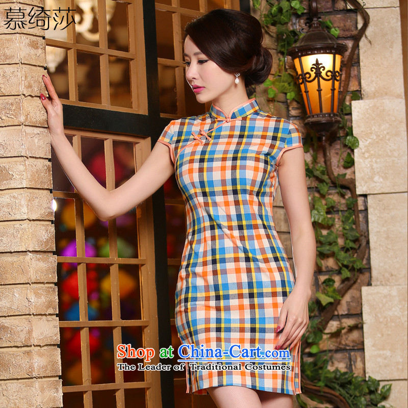 The leading edge of the cross-sa 2015 stylish new grid skirt qipao improved cheongsam dress retro qipao summer ZA324 orange M