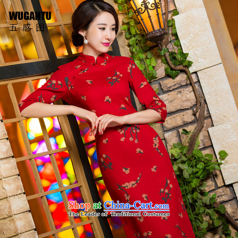 Five-sense of nostalgia for the Republic of Korea and stylish Figure Sau San improved autumn and winter new long cheongsam dress 7 cuff dress Samui Red燤