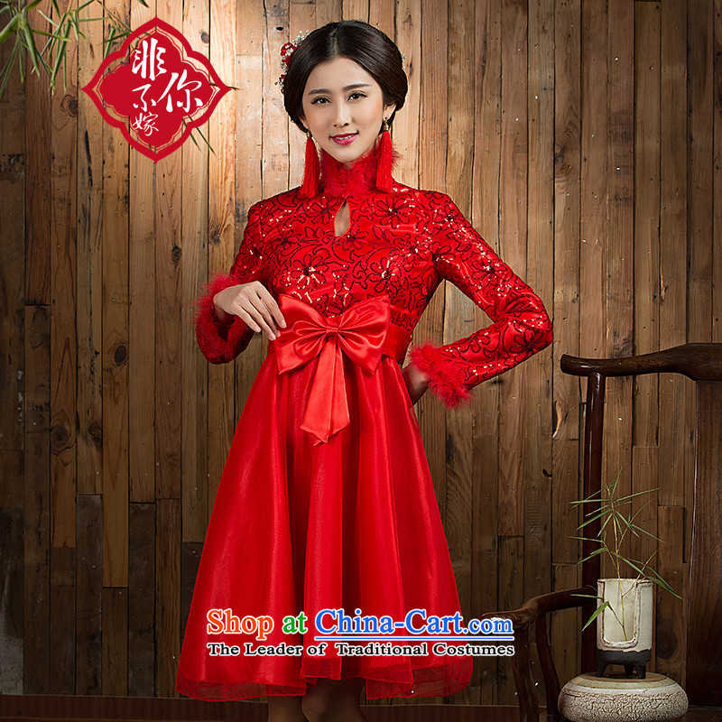 Non-you do not marry?2015 autumn and winter new pregnant women serving Red Top Loin of bows large wedding dress Spangle Embroidery, short skirt butterfly netting dress long-sleeved winter_?XL