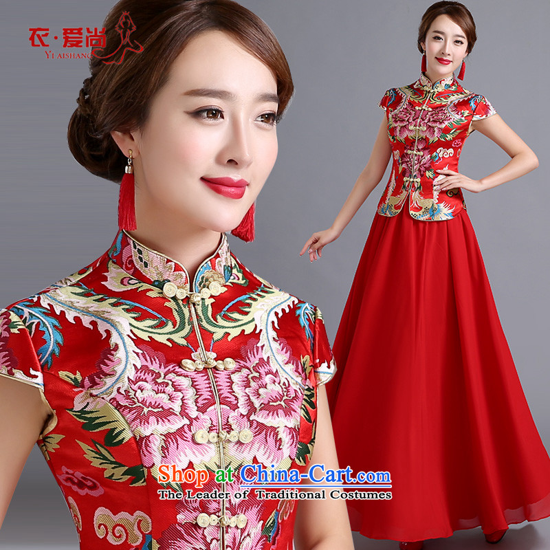 Toasting champagne dress uniform marriage qipao autumn 2015 cheongsam dress new stylish retro improvement of the Sau San red qipao female red can be made plus _30 Does Not Return