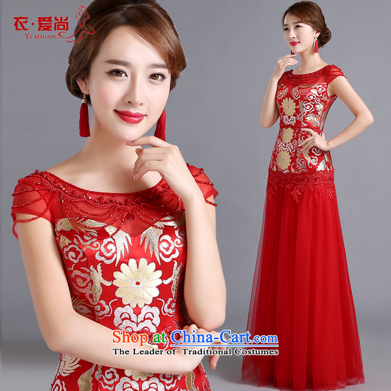 Summer 2015 new wedding dress qipao bride bows to red retro Chinese the lift mast embroidery cheongsam female RED�M