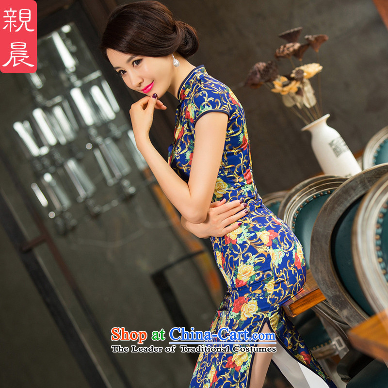 The pro-am daily Silk Cheongsam long 2015 new improved summer retro dresses larger in long autumn Ms. long?M