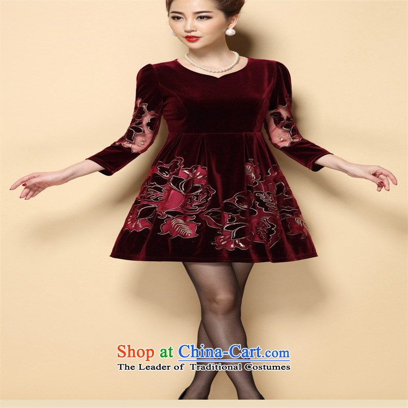 The Black Butterfly 2015 high-end of autumn, new middle-aged moms with large long-sleeved Kim velvet normal black XXL