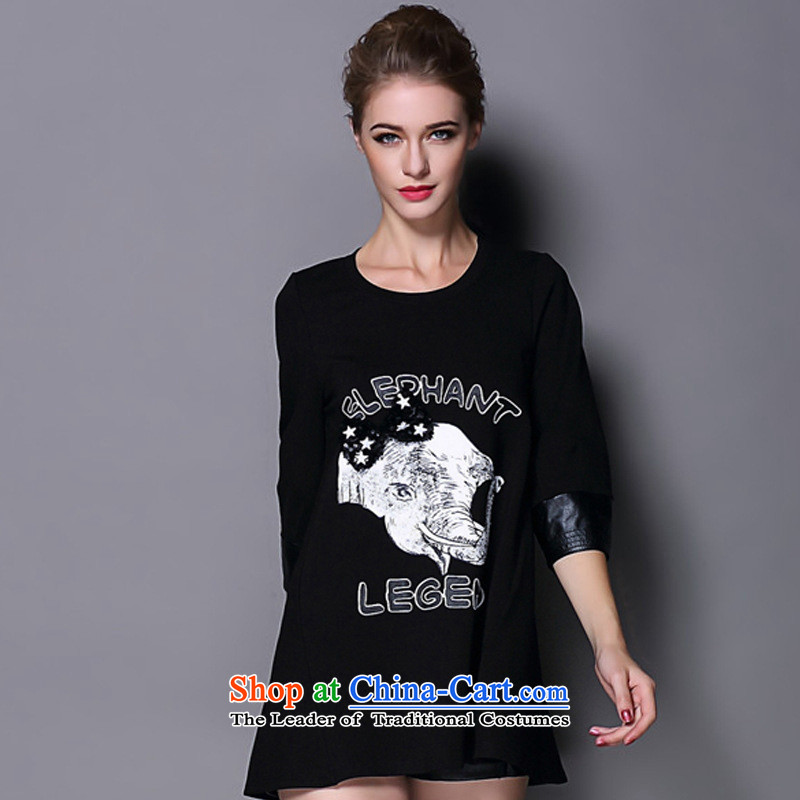 The main 2014 Autumn New Couture fashion, the Noble wind pure cotton shirt black?S