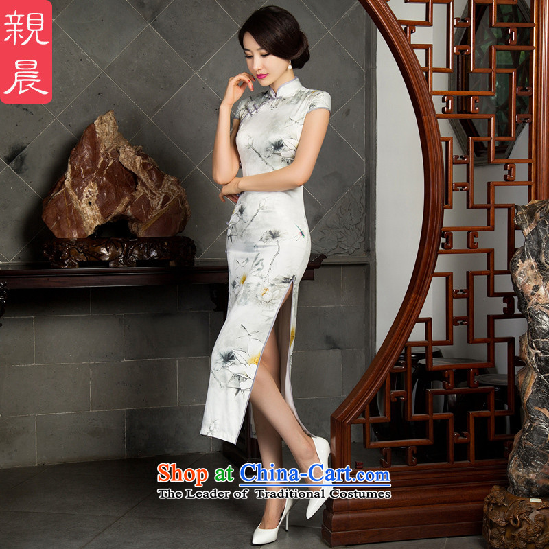 The pro-am daily cheongsam dress in silk long 2015 new improvements often large retro autumn Ms. long - Ink Lotus?M