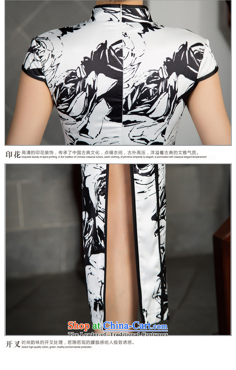 The five senses figure new short autumn cheongsam dress upscale Silk Cheongsam retro Sau San large black and white flowers of 7 to 7 to the cuff, cuff聽M picture, prices, brand platters! The elections are supplied in the national character of distribution, so action, buy now enjoy more preferential! As soon as possible.