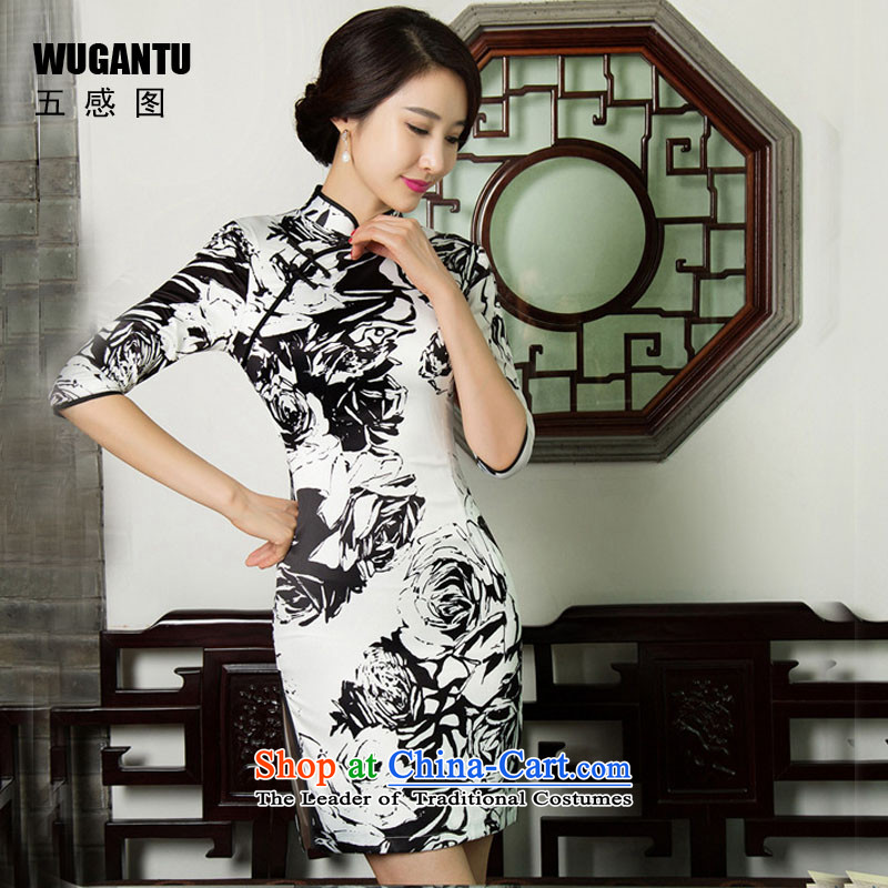 The five senses figure new short autumn cheongsam dress upscale Silk Cheongsam retro Sau San large black and white flowers of 7 to 7 to the cuff, cuff M