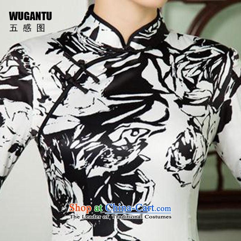 The five senses figure new short autumn cheongsam dress upscale Silk Cheongsam retro Sau San large black and white flowers of 7 to 7 hours of cuff cuff聽M Five-sense (WUGANTU) , , , shopping on the Internet