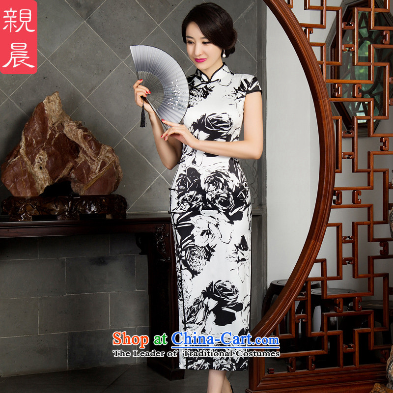 The pro-am daily silk cheongsam dress long 2015 new improved female cheongsam dress large retro Ms. long - Ink Black and White Rose M