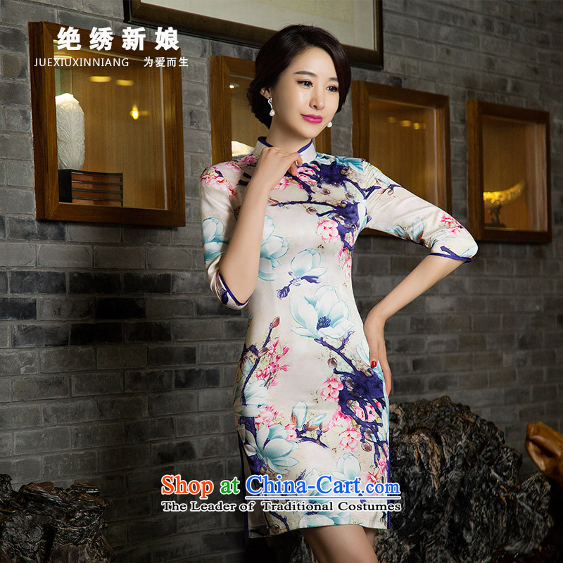 2015 New Leisure Short, Sepia improved girls and package     cheongsam dress summer White?M?Suzhou Shipment