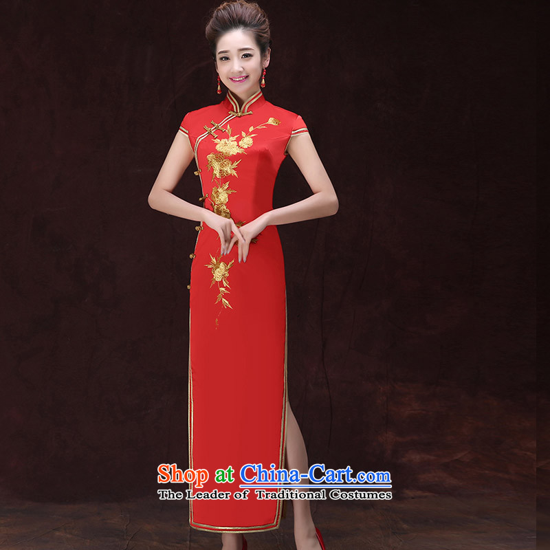 The knot true love spring and summer Olympic games of the new protocol of the forklift truck long qipao qipao gown embroidered performances for Hotel Courtesy etiquette services RED燤
